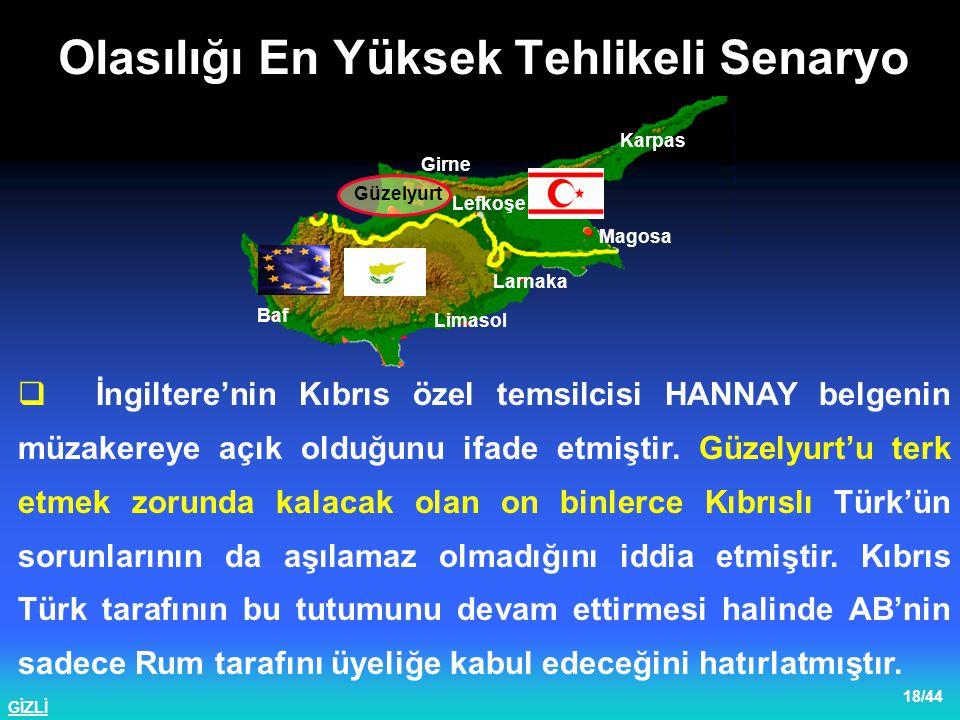 GİZLİ 19/44  12 ARALIK 2002 tarihinde Kopenhag'da yapılan zirvede; GKRY'nin AB'ne alınmasında bir problem olmadığı, Türkiye ile görüşmelerin ARALIK 2004 tarihinde başlayacağı, ancak bu görüşmelerin gerçekleşmesi için Kopenhag kriterlerinin hayata geçirilmesi şartının aranacağı belirtilmiştir.