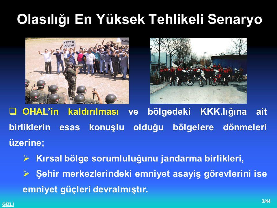 GİZLİ 4/44  Bölgedeki güç dağılımının değişimi ve yönetim zafiyetinden istifade eden TİKKO terör örgütü, eylemlerini yurt sathında yaygınlaştırma kararı almıştır.