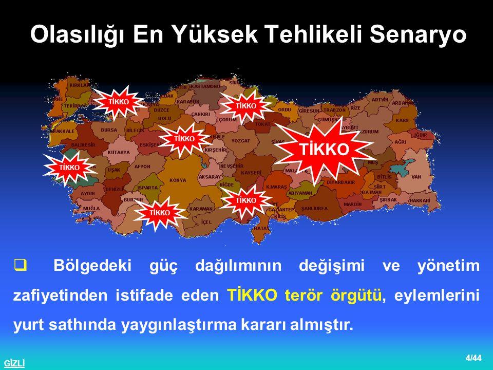 GİZLİ 5/44  Kuzey Irak'taki gelişmelere paralel olarak KADEK (PKK) terör örgütü Güneydoğu Anadolu Bölgesinde silahlı eylemlere başlamıştır.