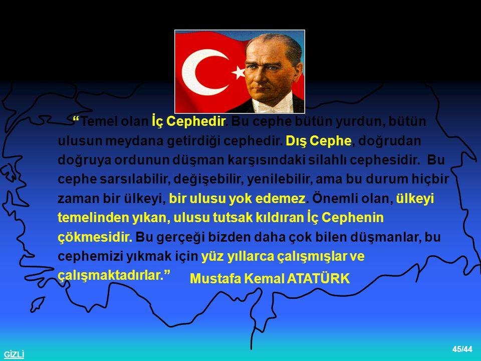 """GİZLİ 45/44 Mustafa Kemal ATATÜRK İç Cephenin Önemi """"Temel olan İç Cephedir. Bu cephe bütün yurdun, bütün ulusun meydana getirdiği cephedir. Dış Cephe"""