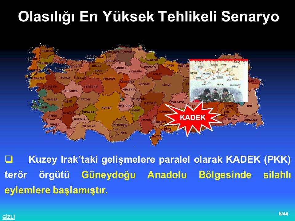 GİZLİ 6/44  Çukurca, İdil ve Lice bölgelerinde KADEK Terör Örgütünce açılan ateş sonucunda çıkan çatışmada bir Bnb., iki Ütğm.