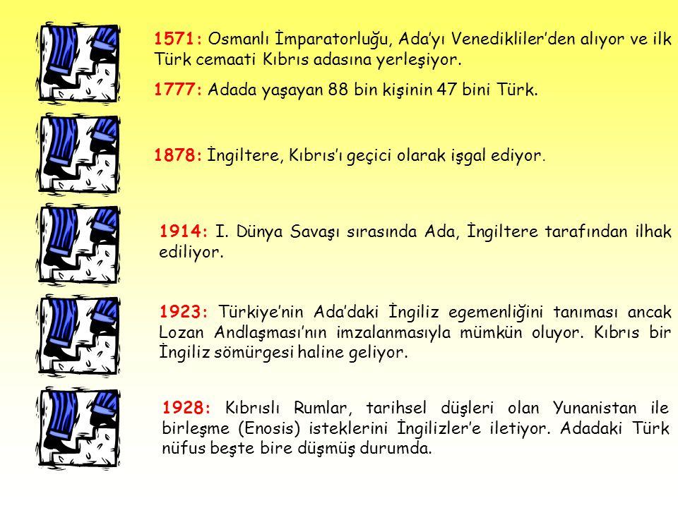 1571: Osmanlı İmparatorluğu, Ada'yı Venedikliler'den alıyor ve ilk Türk cemaati Kıbrıs adasına yerleşiyor.