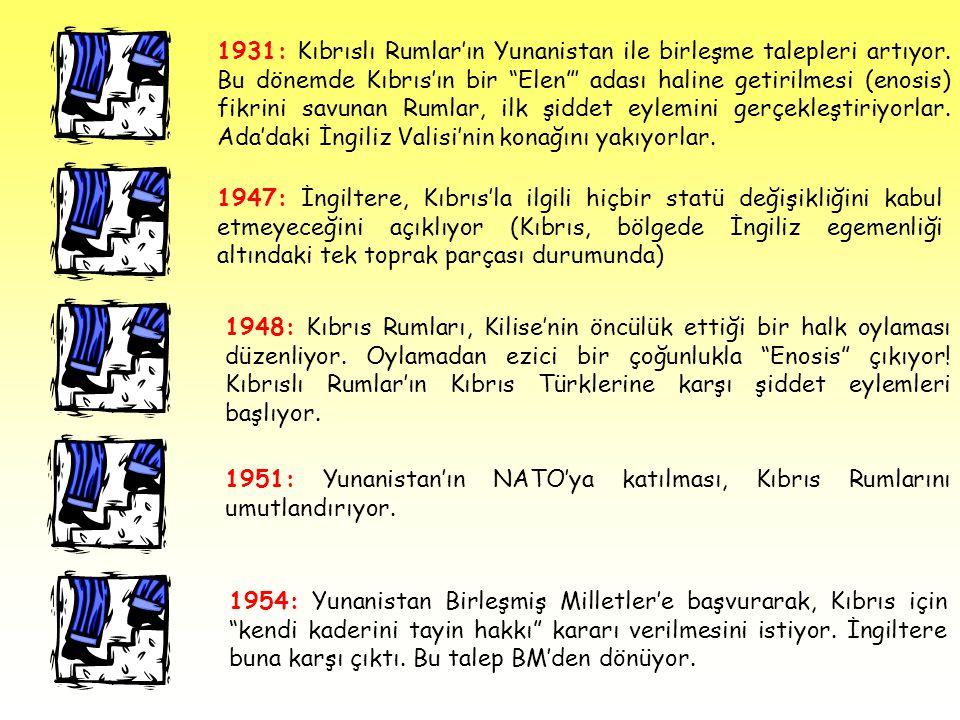 """1931: Kıbrıslı Rumlar'ın Yunanistan ile birleşme talepleri artıyor. Bu dönemde Kıbrıs'ın bir """"Elen""""' adası haline getirilmesi (enosis) fikrini savunan"""