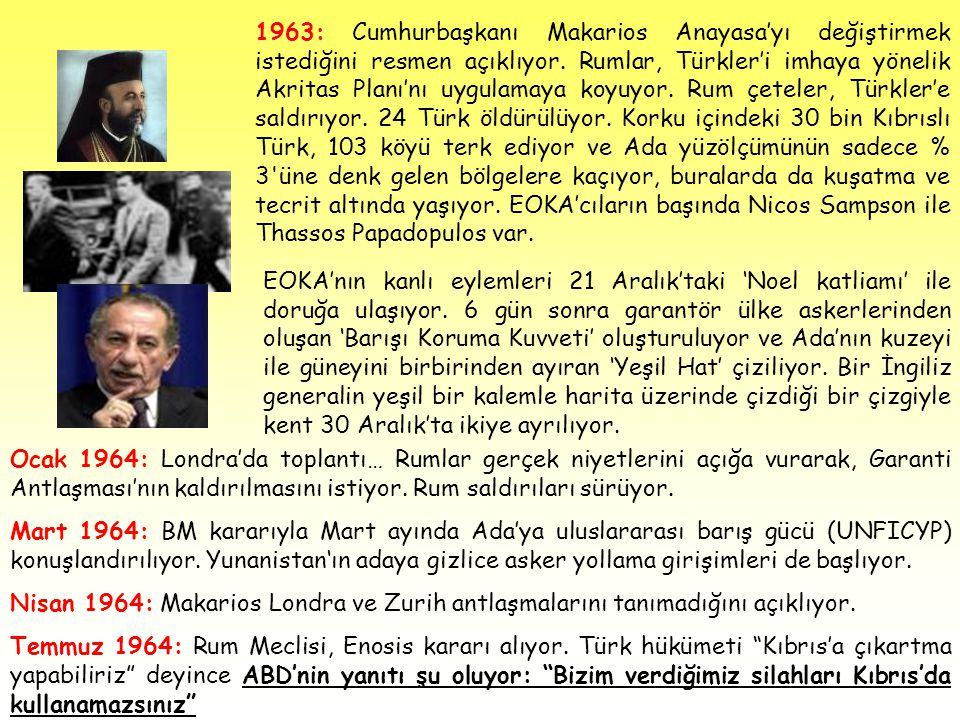 1963: Cumhurbaşkanı Makarios Anayasa'yı değiştirmek istediğini resmen açıklıyor. Rumlar, Türkler'i imhaya yönelik Akritas Planı'nı uygulamaya koyuyor.