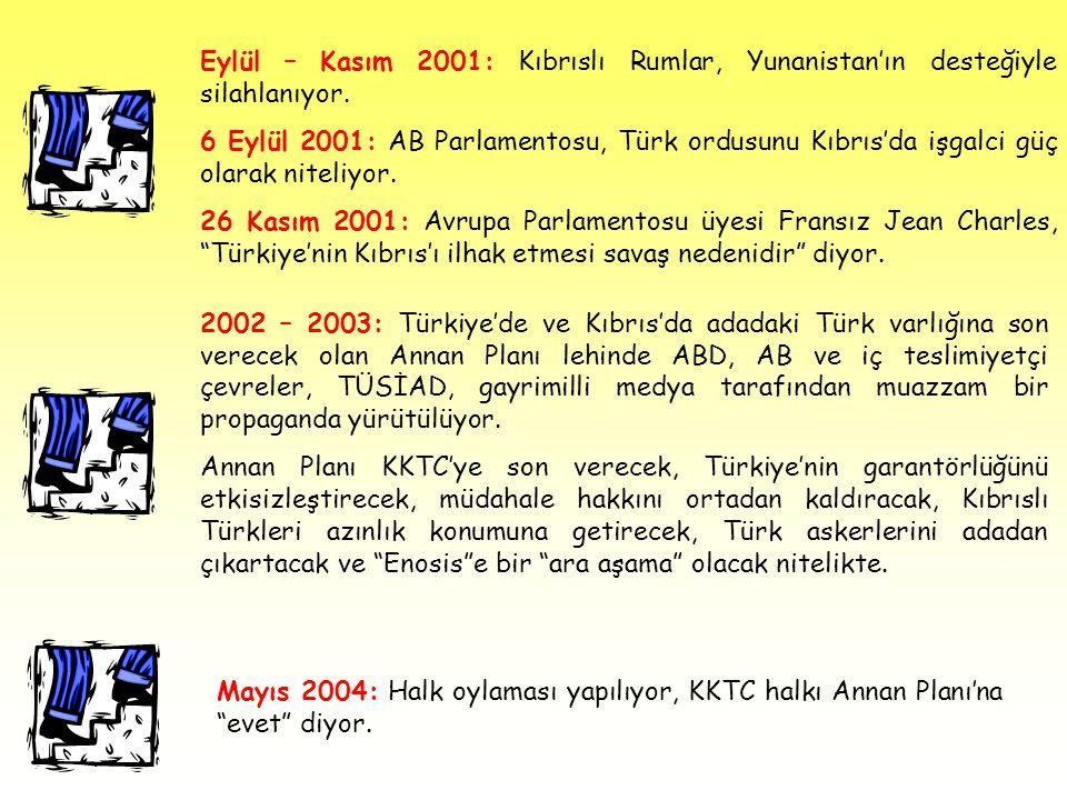 Eylül – Kasım 2001: Kıbrıslı Rumlar, Yunanistan'ın desteğiyle silahlanıyor. 6 Eylül 2001: AB Parlamentosu, Türk ordusunu Kıbrıs'da işgalci güç olarak