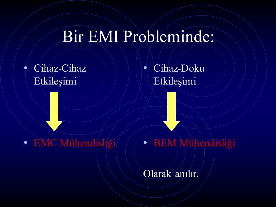 Bir EMI Probleminde: Cihaz-Cihaz Etkileşimi EMC Mühendisliği Cihaz-Doku Etkileşimi BEM Mühendisliği Olarak anılır.