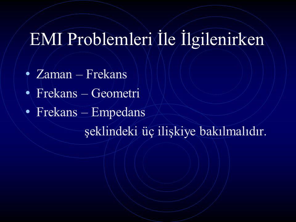 EMI Problemleri İle İlgilenirken Zaman – Frekans Frekans – Geometri Frekans – Empedans şeklindeki üç ilişkiye bakılmalıdır.
