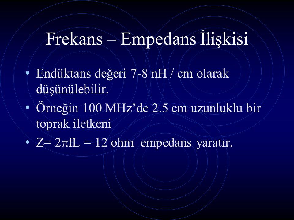 Frekans – Empedans İlişkisi Endüktans değeri 7-8 nH / cm olarak düşünülebilir. Örneğin 100 MHz'de 2.5 cm uzunluklu bir toprak iletkeni Z= 2  fL = 12