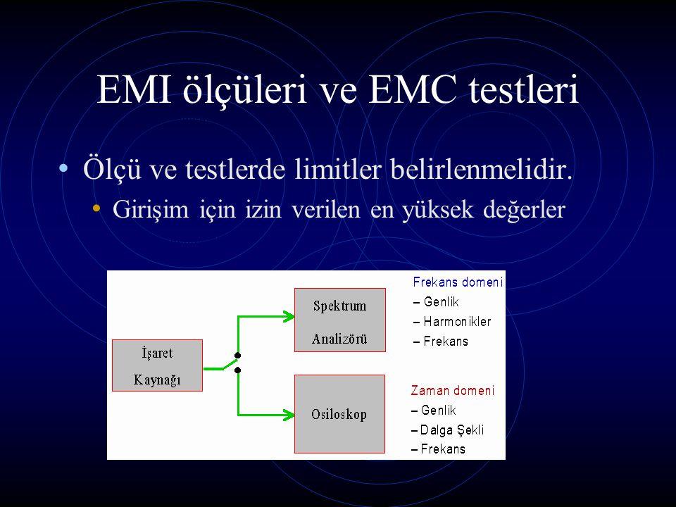EMI ölçüleri ve EMC testleri Ölçü ve testlerde limitler belirlenmelidir. Girişim için izin verilen en yüksek değerler