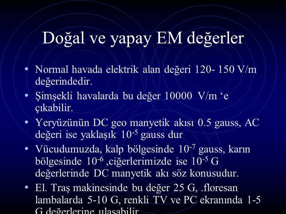 Doğal ve yapay EM değerler Normal havada elektrik alan değeri 120- 150 V/m değerindedir. Şimşekli havalarda bu değer 10000 V/m 'e çıkabilir. Yeryüzünü