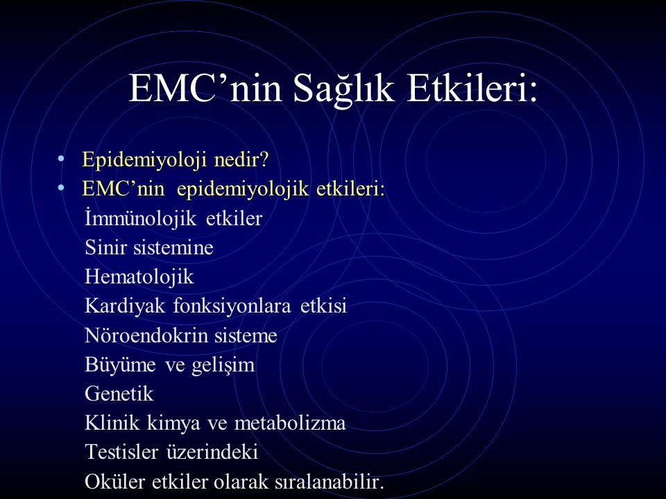 EMC'nin Sağlık Etkileri: Epidemiyoloji nedir? EMC'nin epidemiyolojik etkileri: İmmünolojik etkiler Sinir sistemine Hematolojik Kardiyak fonksiyonlara