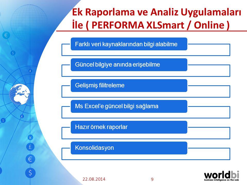 22.08.2014 9 Ek Raporlama ve Analiz Uygulamaları İle ( PERFORMA XLSmart / Online ) Farklı veri kaynaklarından bilgi alabilme Güncel bilgiye anında erişebilmeGelişmiş filitreleme Ms Excel'e güncel bilgi sağlamaHazır örnek raporlarKonsolidasyon