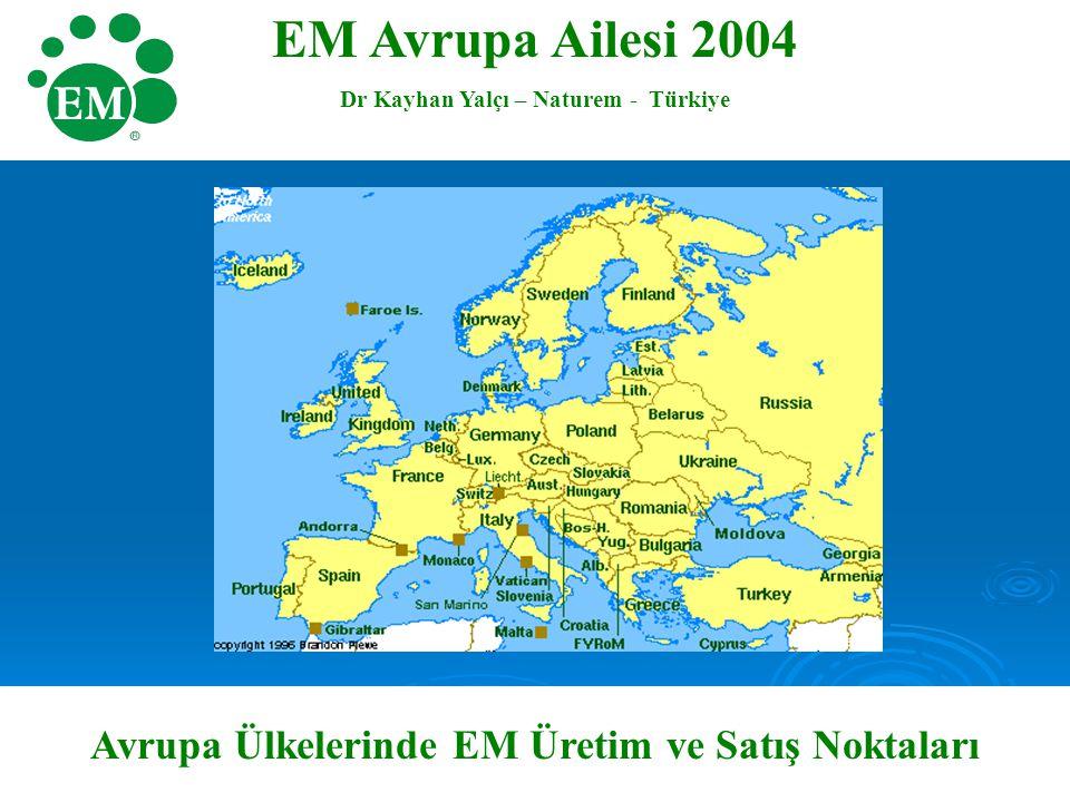 EM Avrupa Ailesi 2004 Dr Kayhan Yalçı – Naturem - Türkiye Avrupa Ülkelerinde EM Üretim ve Satış Noktaları