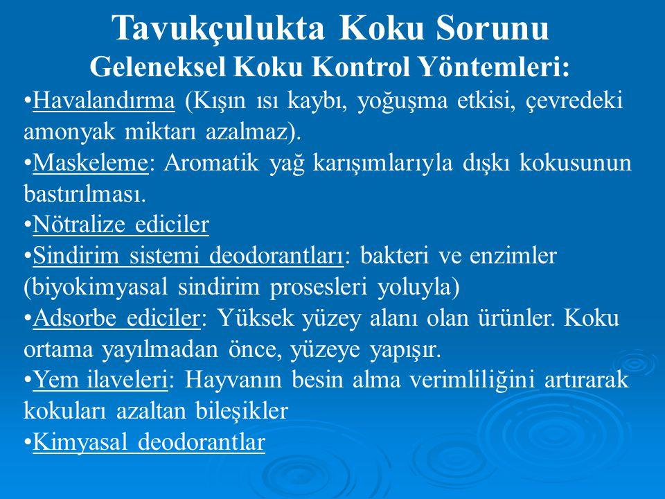 Tavukçulukta Koku Sorunu Geleneksel Koku Kontrol Yöntemleri: Havalandırma (Kışın ısı kaybı, yoğuşma etkisi, çevredeki amonyak miktarı azalmaz).