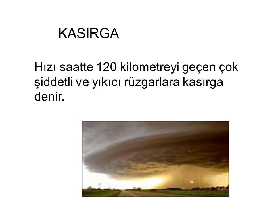 KASIRGA Hızı saatte 120 kilometreyi geçen çok şiddetli ve yıkıcı rüzgarlara kasırga denir.