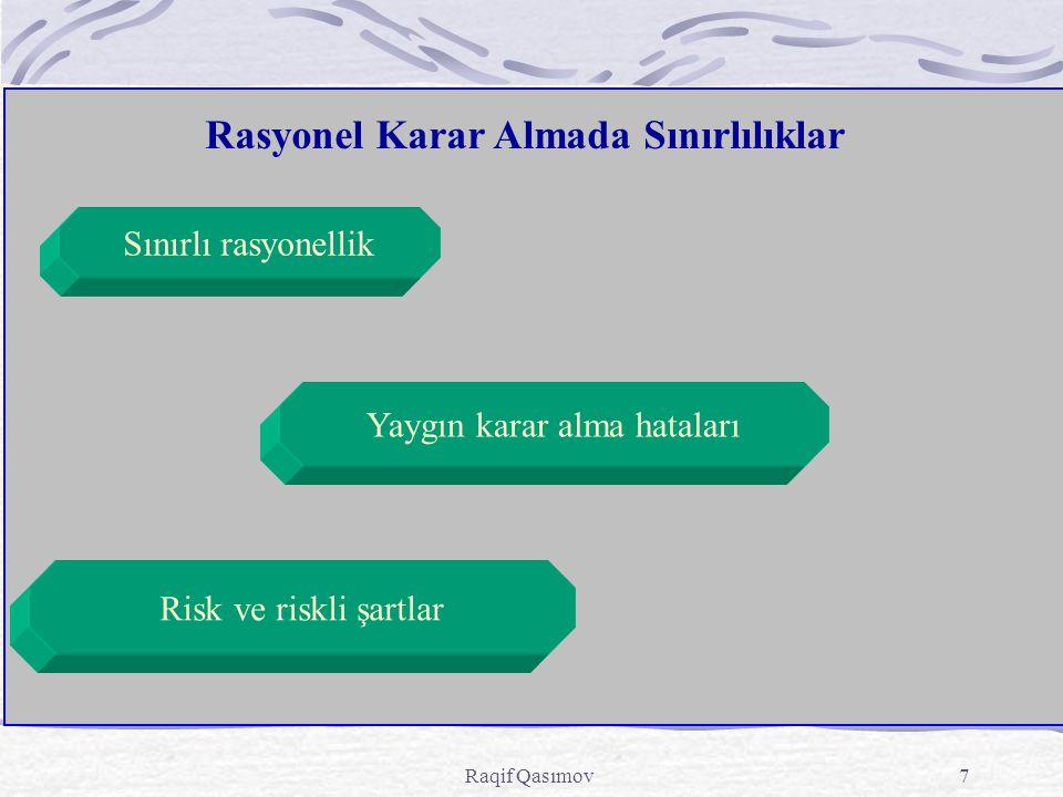 Raqif Qasımov7 Rasyonel Karar Almada Sınırlılıklar Sınırlı rasyonellik Risk ve riskli şartlar Yaygın karar alma hataları