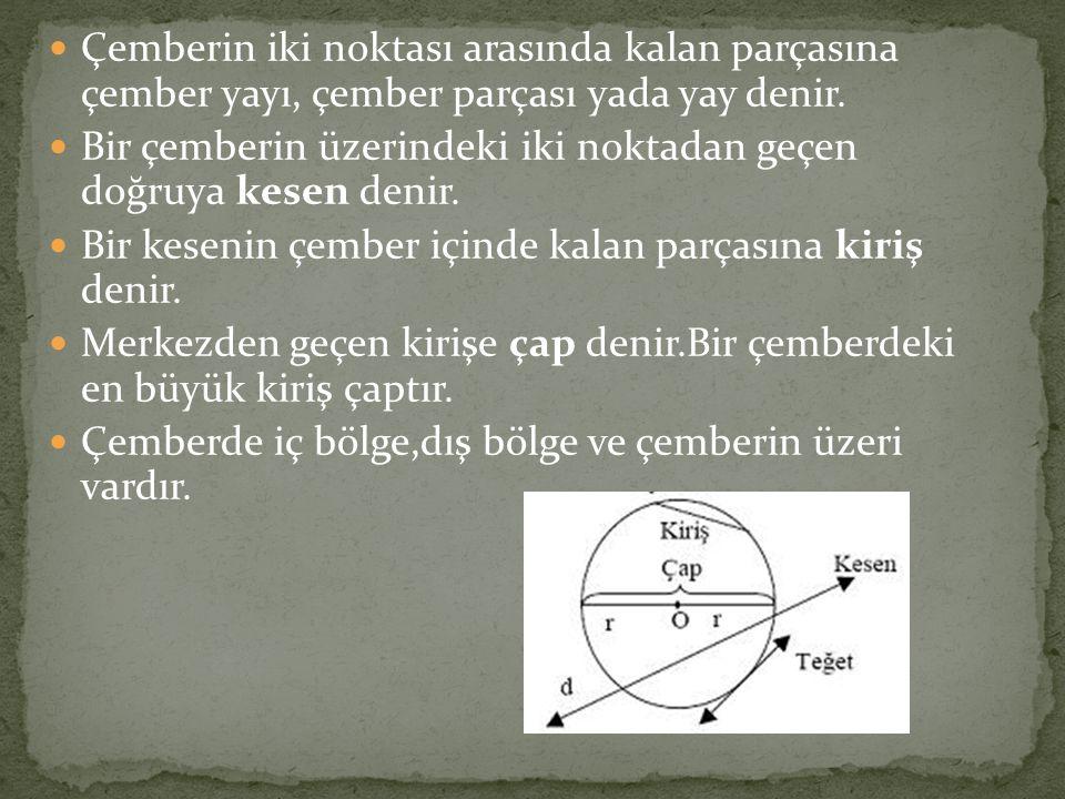 Çemberin iki noktası arasında kalan parçasına çember yayı, çember parçası yada yay denir. Bir çemberin üzerindeki iki noktadan geçen doğruya kesen den