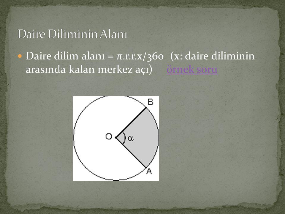 Daire dilim alanı = π.r.r.x/360 (x: daire diliminin arasında kalan merkez açı) örnek soruörnek soru