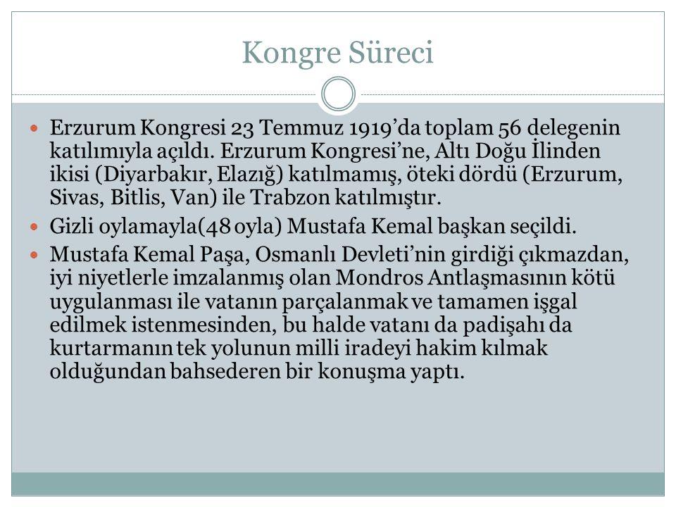 Kongre Süreci Erzurum Kongresi 23 Temmuz 1919'da toplam 56 delegenin katılımıyla açıldı.
