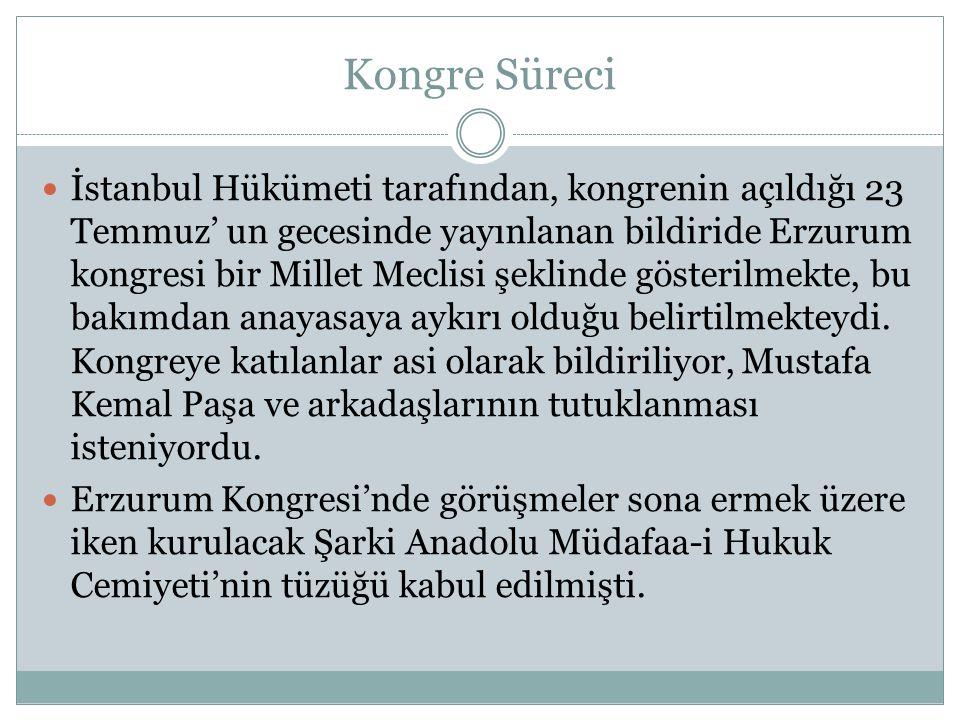 Kongre Süreci İstanbul Hükümeti tarafından, kongrenin açıldığı 23 Temmuz' un gecesinde yayınlanan bildiride Erzurum kongresi bir Millet Meclisi şeklinde gösterilmekte, bu bakımdan anayasaya aykırı olduğu belirtilmekteydi.