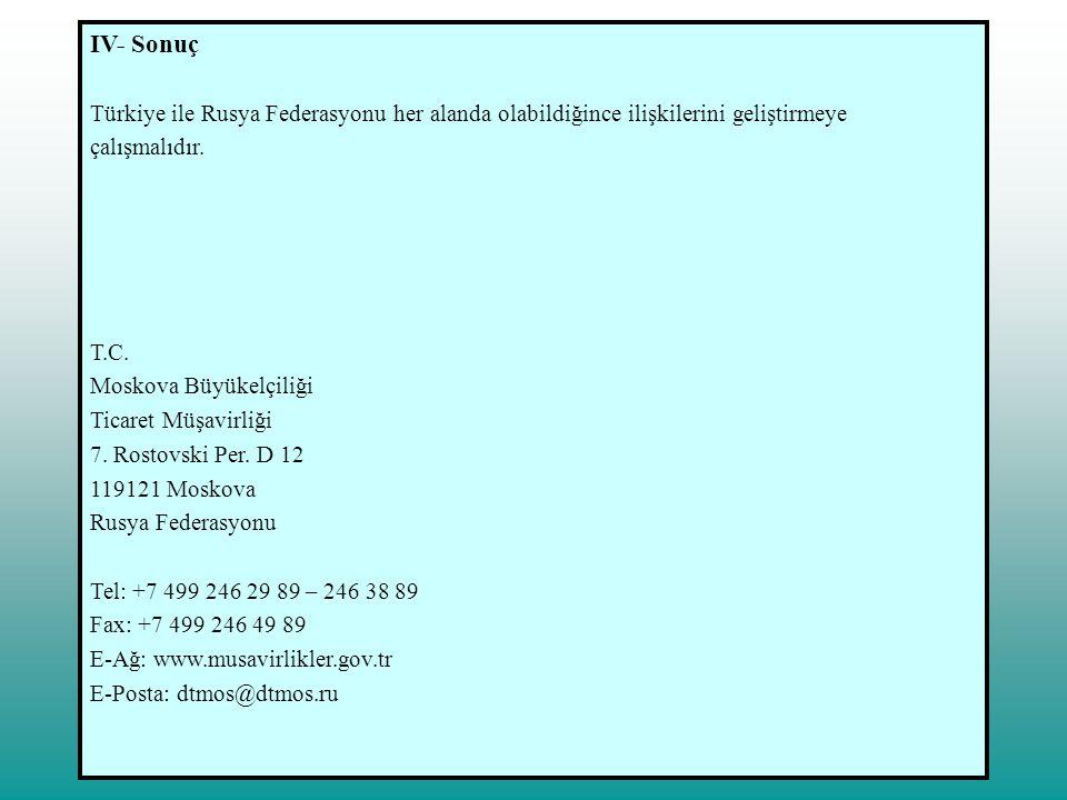 IV- Sonuç Türkiye ile Rusya Federasyonu her alanda olabildiğince ilişkilerini geliştirmeye çalışmalıdır. T.C. Moskova Büyükelçiliği Ticaret Müşavirliğ