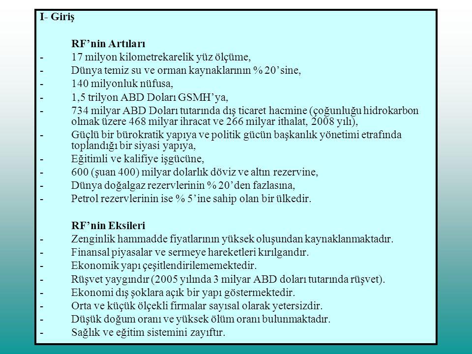 II- Türk - Rus İlişkileri A) Tarihi Süreç Ticari ilişkiler III.