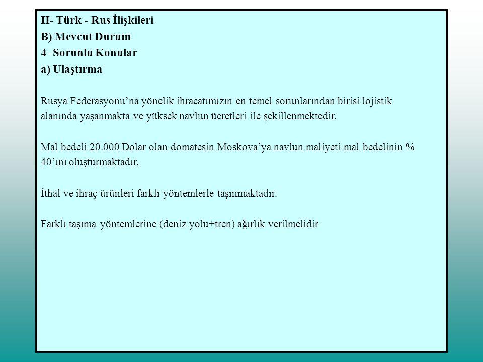II- Türk - Rus İlişkileri B) Mevcut Durum 4- Sorunlu Konular b) Yaş Meyve-Sebze Rusya'da iklimin elverişli olmaması nedeniyle meyve ve sebze üretimi talebi karşılayamamaktadır.