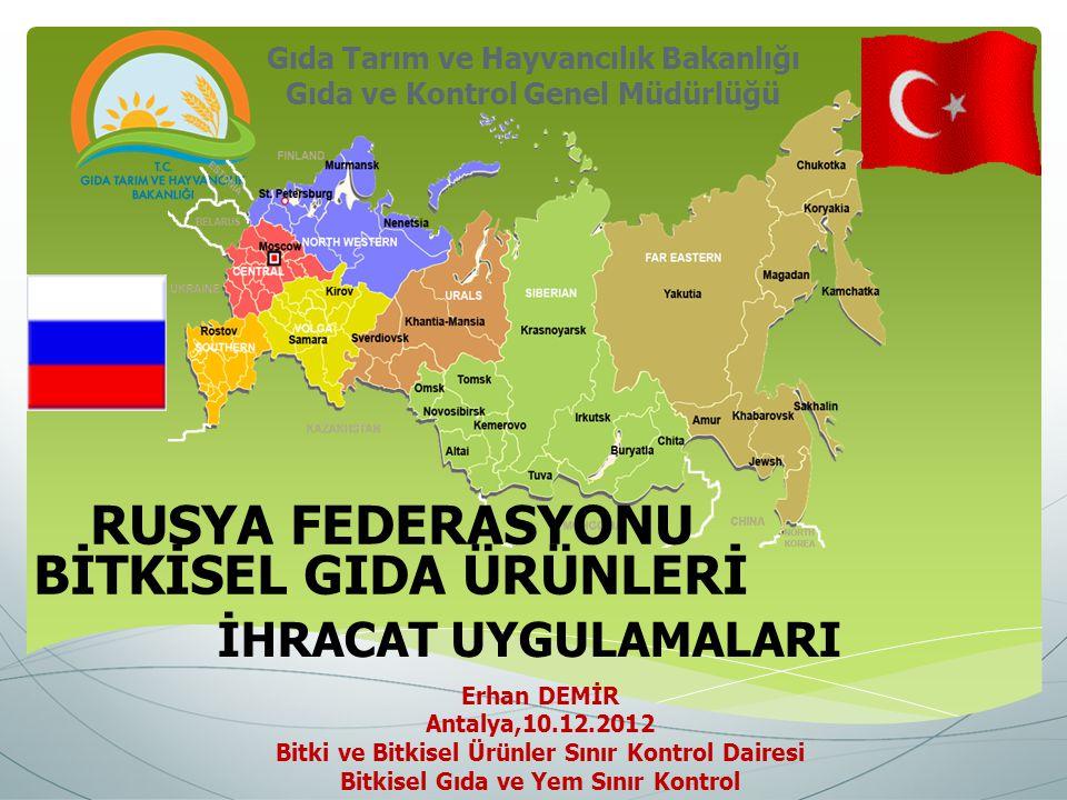Gıda Tarım ve Hayvancılık Bakanlığı Gıda ve Kontrol Genel Müdürlüğü Erhan DEMİR Antalya,10.12.2012 Bitki ve Bitkisel Ürünler Sınır Kontrol Dairesi Bit
