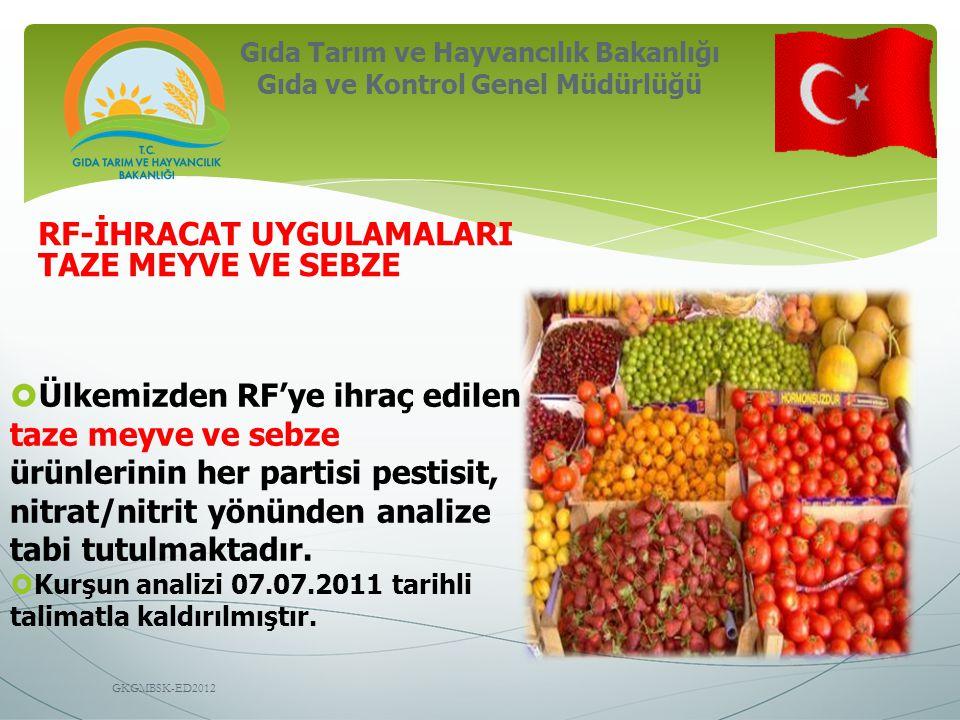 Gıda Tarım ve Hayvancılık Bakanlığı Gıda ve Kontrol Genel Müdürlüğü GKGMBSK-ED2012 RF-İHRACAT UYGULAMALARI TAZE MEYVE VE SEBZE  Ülkemizden RF'ye ihra