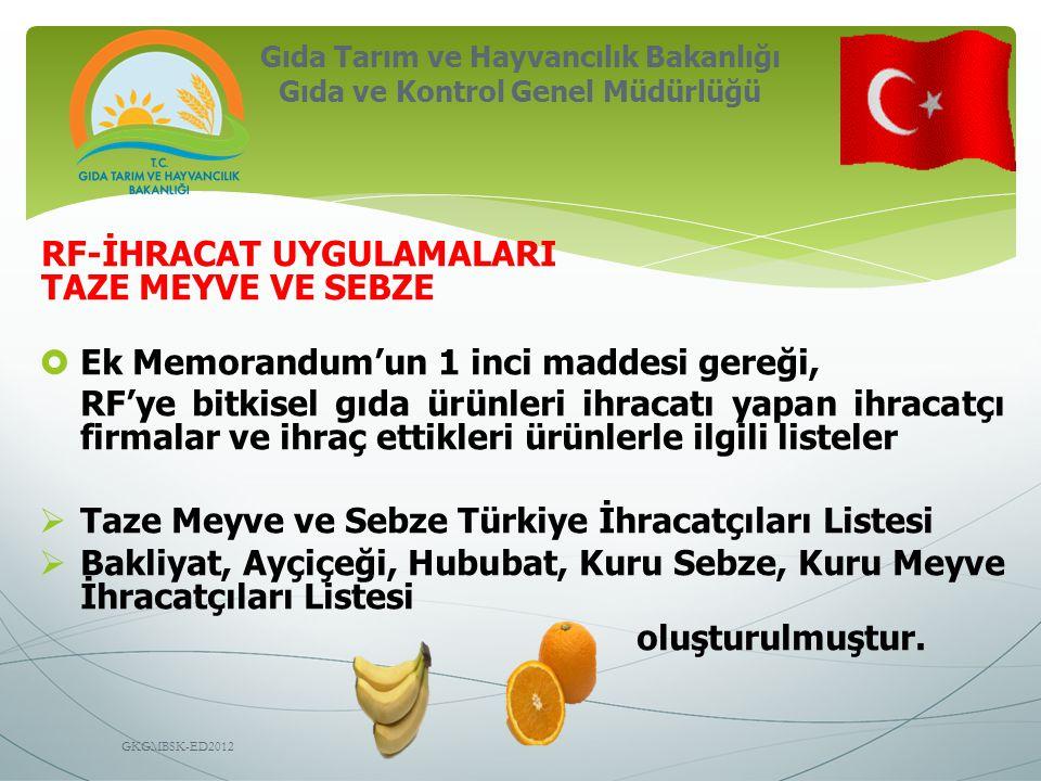 Gıda Tarım ve Hayvancılık Bakanlığı Gıda ve Kontrol Genel Müdürlüğü GKGMBSK-ED2012 RF-İHRACAT UYGULAMALARI TAZE MEYVE VE SEBZE  Ek Memorandum'un 1 inci maddesi gereği, RF'ye bitkisel gıda ürünleri ihracatı yapan ihracatçı firmalar ve ihraç ettikleri ürünlerle ilgili listeler  Taze Meyve ve Sebze Türkiye İhracatçıları Listesi  Bakliyat, Ayçiçeği, Hububat, Kuru Sebze, Kuru Meyve İhracatçıları Listesi oluşturulmuştur.