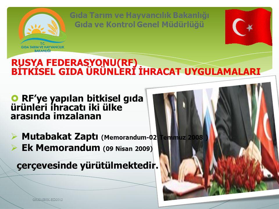Gıda Tarım ve Hayvancılık Bakanlığı Gıda ve Kontrol Genel Müdürlüğü GKGMBSK-ED2012 RUSYA FEDERASYONU(RF) BİTKİSEL GIDA ÜRÜNLERİ İHRACAT UYGULAMALARI  RF'ye yapılan bitkisel gıda ürünleri ihracatı iki ülke arasında imzalanan  Mutabakat Zaptı (Memorandum-02 Temmuz 2008 )  Ek Memorandum (09 Nisan 2009) çerçevesinde yürütülmektedir.
