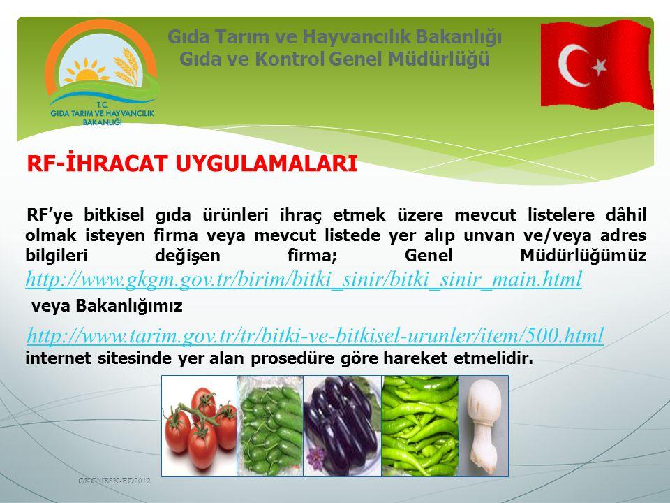 Gıda Tarım ve Hayvancılık Bakanlığı Gıda ve Kontrol Genel Müdürlüğü GKGMBSK-ED2012 RF-İHRACAT UYGULAMALARI RF'ye bitkisel gıda ürünleri ihraç etmek üz