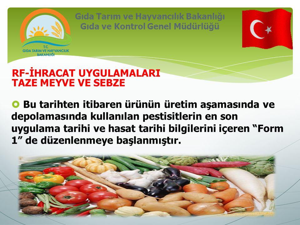 Gıda Tarım ve Hayvancılık Bakanlığı Gıda ve Kontrol Genel Müdürlüğü GKGMBSK-ED2012 RF-İHRACAT UYGULAMALARI TAZE MEYVE VE SEBZE  Taze meyve ve sebze ihracatı uygulama talimatı- 18.10.2012 tarih ve 034563 sayılı yazı ile güncellenmiştir.