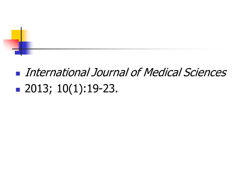 International Journal of Medical Sciences 2013; 10(1):19-23.