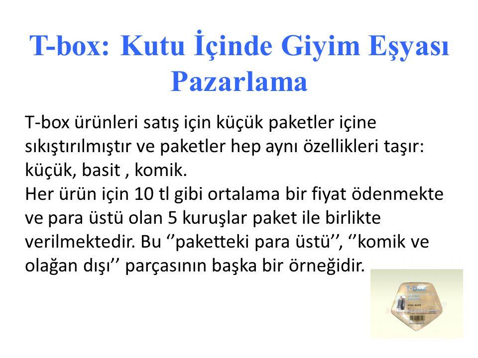 T-box ürünleri satış için küçük paketler içine sıkıştırılmıştır ve paketler hep aynı özellikleri taşır: küçük, basit, komik. Her ürün için 10 tl gibi