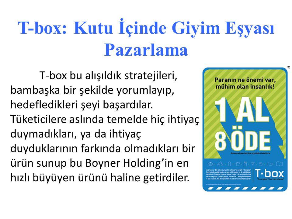 T-box: Kutu İçinde Giyim Eşyası Pazarlama T-box bu alışıldık stratejileri, bambaşka bir şekilde yorumlayıp, hedefledikleri şeyi başardılar. Tüketicile