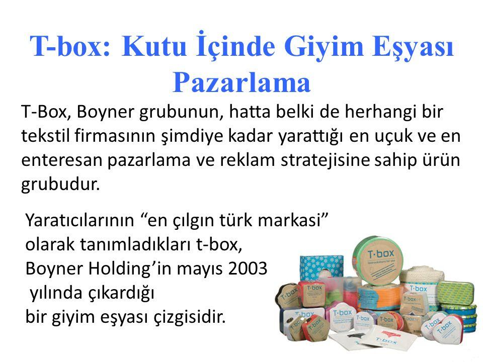 T-Box, Boyner grubunun, hatta belki de herhangi bir tekstil firmasının şimdiye kadar yarattığı en uçuk ve en enteresan pazarlama ve reklam stratejisin