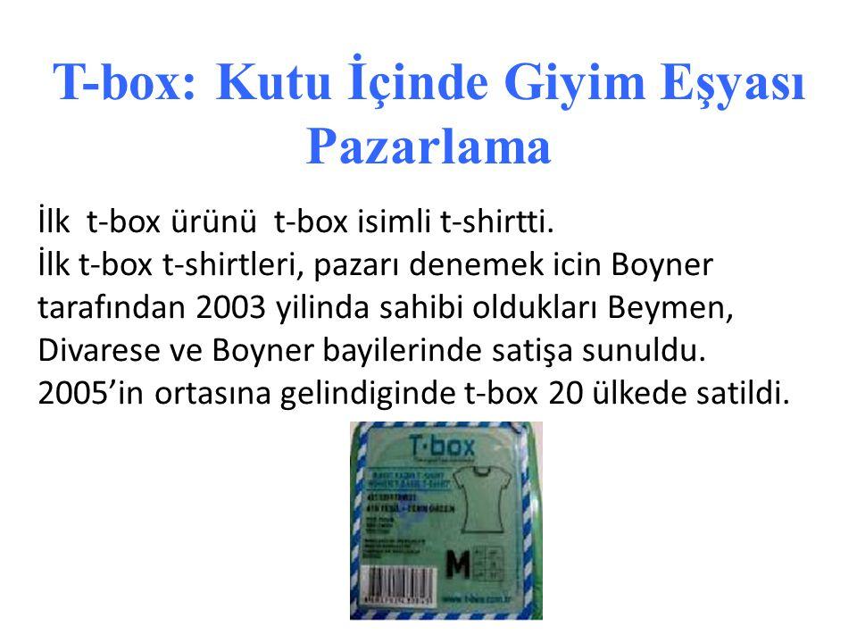 T-box: Kutu İçinde Giyim Eşyası Pazarlama İlk t-box ürünü t-box isimli t-shirtti. İlk t-box t-shirtleri, pazarı denemek icin Boyner tarafından 2003 yi