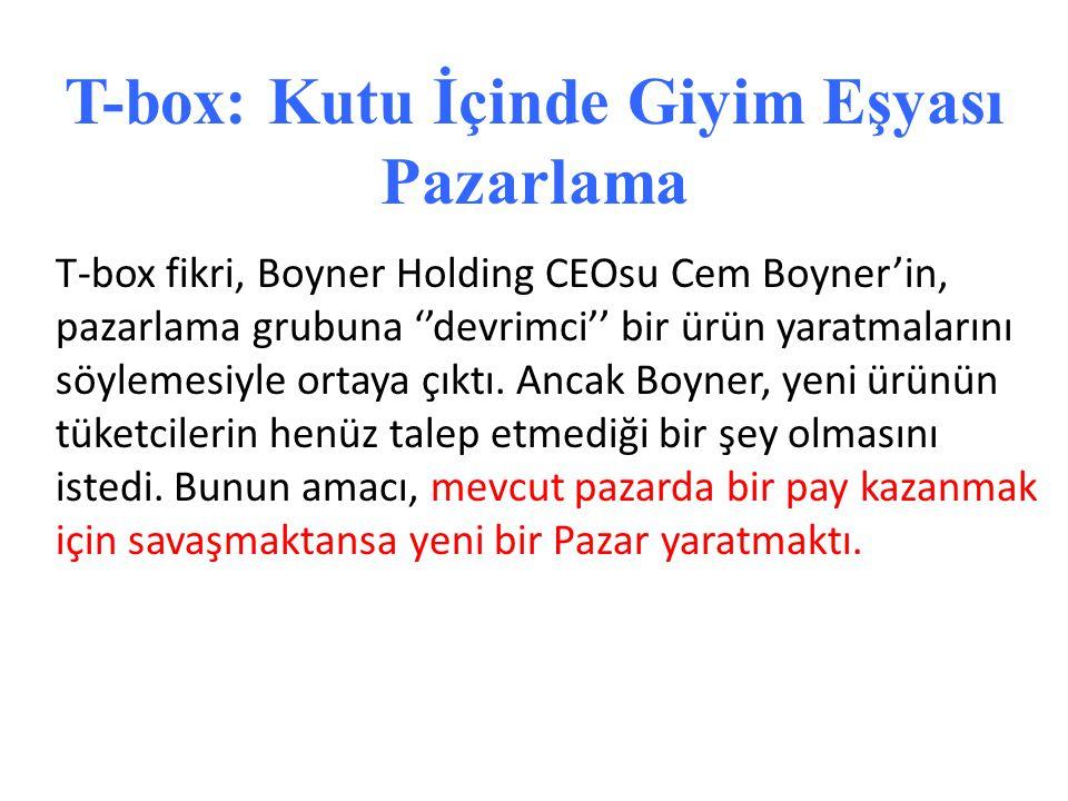 T-box fikri, Boyner Holding CEOsu Cem Boyner'in, pazarlama grubuna ''devrimci'' bir ürün yaratmalarını söylemesiyle ortaya çıktı. Ancak Boyner, yeni ü