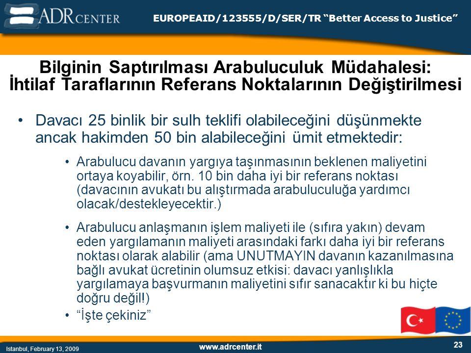 www.adrcenter.it Istanbul, February 13, 2009 EUROPEAID/123555/D/SER/TR Better Access to Justice 23 Davacı 25 binlik bir sulh teklifi olabileceğini düşünmekte ancak hakimden 50 bin alabileceğini ümit etmektedir: Arabulucu davanın yargıya taşınmasının beklenen maliyetini ortaya koyabilir, örn.