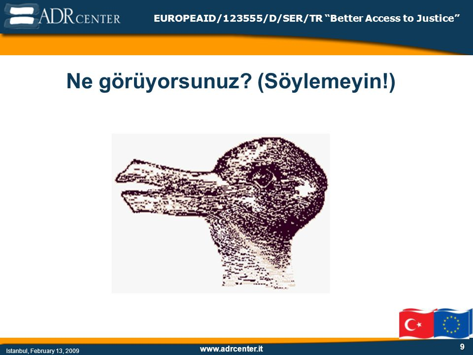 www.adrcenter.it Istanbul, February 13, 2009 EUROPEAID/123555/D/SER/TR Better Access to Justice 9 Ne görüyorsunuz.