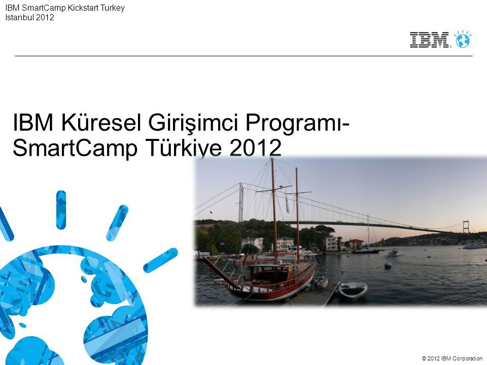 © 2012 IBM Corporation Gündem 14:00-14:15Açılış/Hoşgeldiniz 14:15-14:45SmartCamp Istanbul Yarışması 14:45-15:15Takvim 15:15-16:00Kokteyl IBM SmartCamp Kickstart Turkey Istanbul 2012