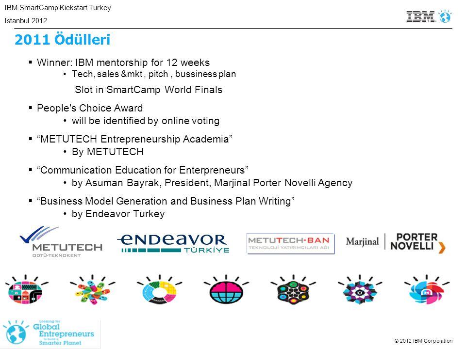 © 2012 IBM Corporation 2011 Ödülleri  Winner: IBM mentorship for 12 weeks Tech, sales &mkt, pitch, bussiness plan Slot in SmartCamp World Finals  Pe