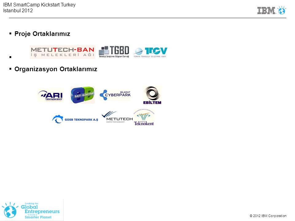 © 2012 IBM Corporation  Proje Ortaklarımız   Organizasyon Ortaklarımız IBM SmartCamp Kickstart Turkey Istanbul 2012