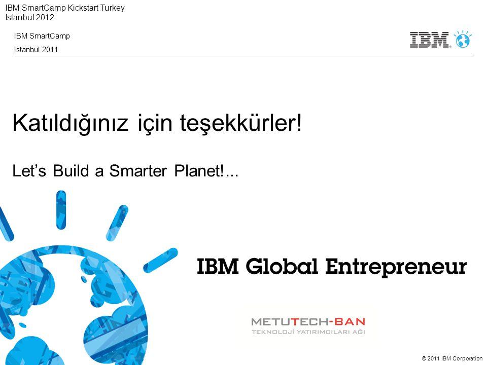 © 2011 IBM Corporation IBM SmartCamp Kickstart Turkey Istanbul 2012 Katıldığınız için teşekkürler! Let's Build a Smarter Planet!... IBM SmartCamp Ista
