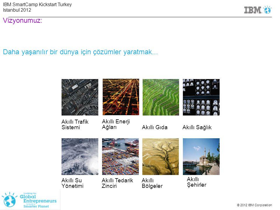 © 2012 IBM Corporation SmartCamp Kriterleri Çözümü aşağıdakilerden 1 veya birden fazlasını sergileyen her şirket katılabilir: (0-5 Yaş) IBM SmartCamp Kickstart Turkey Istanbul 2012