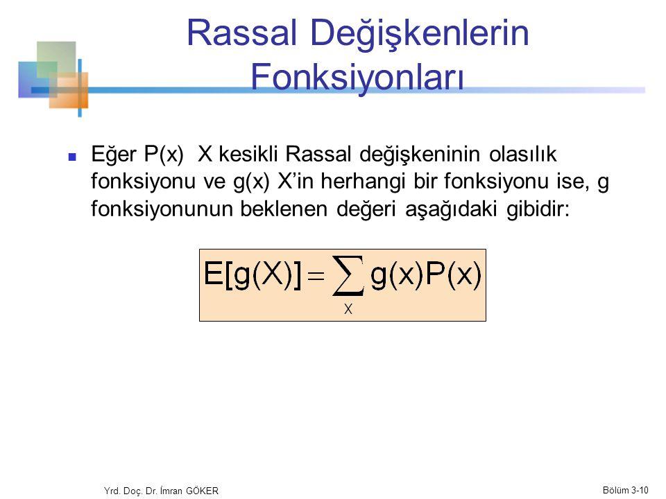 Rassal Değişkenlerin Fonksiyonları Eğer P (x) X kesikli Rassal değişkeninin olasılık fonksiyonu ve g(x) X'in herhangi bir fonksiyonu ise, g fonksiyonu