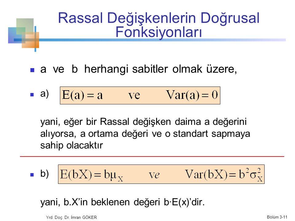 Rassal Değişkenlerin Doğrusal Fonksiyonları a ve b herhangi sabitler olmak üzere, a) yani, eğer bir Rassal değişken daima a değerini alıyorsa, a ortam