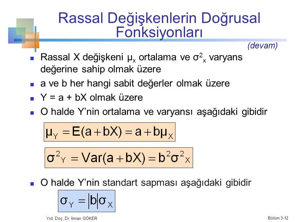 Rassal Değişkenlerin Doğrusal Fonksiyonları Rassal X değişkeni µ x ortalama ve σ 2 x varyans değerine sahip olmak üzere a ve b her hangi sabit değerle