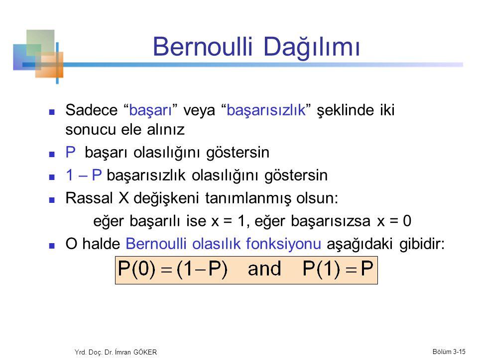 """Bernoulli Dağılımı Sadece """"başarı"""" veya """"başarısızlık"""" şeklinde iki sonucu ele alınız P başarı olasılığını göstersin 1 – P başarısızlık olasılığını gö"""